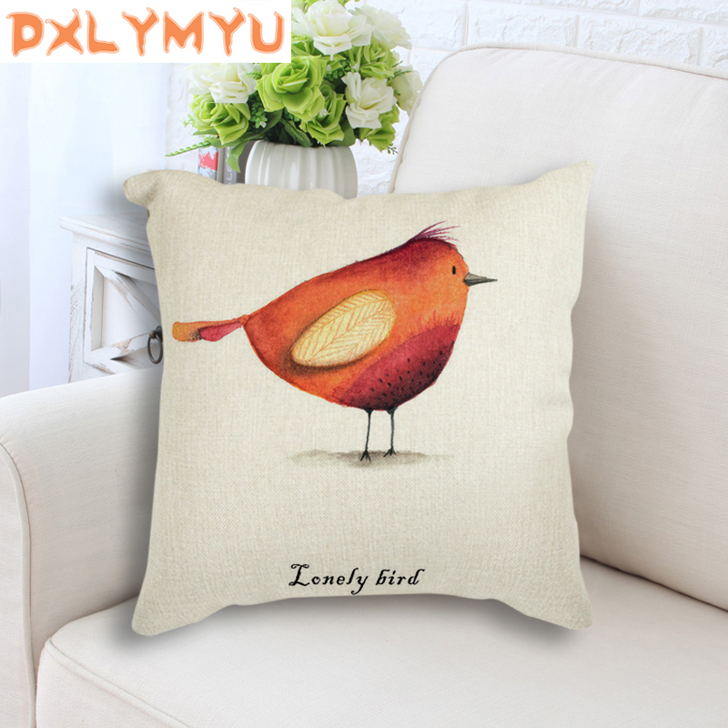 Nordic Art Loney Bird New Watercolor Animal Cushion Pillowcase Decorative Cushions For Kids Room Office Car Sofa Home Decor