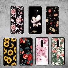 For Samsung Galaxy S8 S9 S10 S10e Plus E lite Note 8 9 10 A7 A8 Vintage Floral Rose Sunflower Blossom Soft Bumper Phone Case