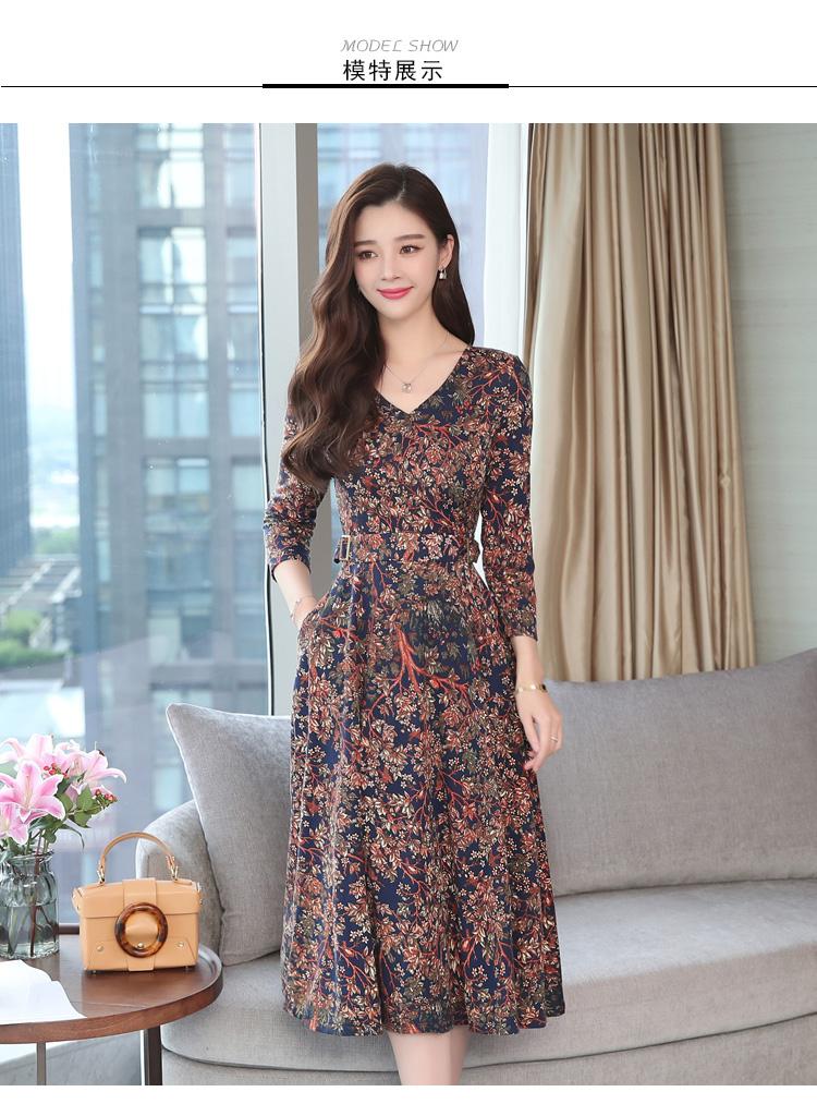 Autumn Winter New 3XL Plus Size Vintage Midi Dresses 2018 Women Elegant Bodycon Floral Dress Party Long Sleeve Runway Vestidos 33