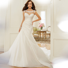IIIusion Scoop Lace Neckline V Back Cap Sleeves Mermaid Lace Wedding Dresses 2016 Court Train High Quality Custom Made 2017