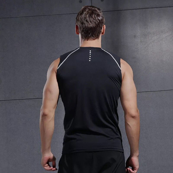Reflective Summer Running Vest Gym Tank Top Bodybuilding Sleeveless Men Running Shirt Sports Training Fitness Compression Tight 1