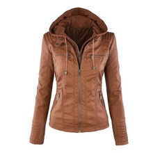 Womens New Faux Twinset Detachable Hat Autumn Winter Faux Leather Slim Jacket Hoodie Hooded Zip -Up Pockets Outerwear Coats