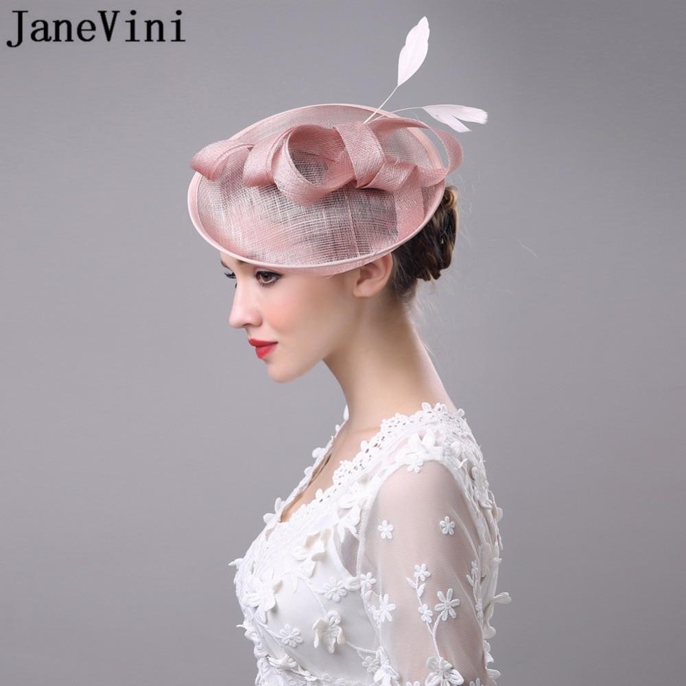 JaneVini Vintage blanc noir rose mariage chapeau de mariée fleur en dehors de vacances plume femmes chapeaux et fascinateurs avec épingle à cheveux