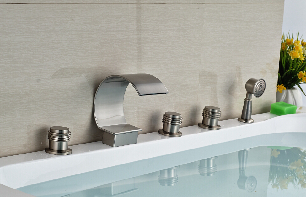 Brushed Nickel Faucet Waterfall Bathroom Spout Sink One: Waterfall Spout Bathroom Tub Faucet 5pcs With Handheld