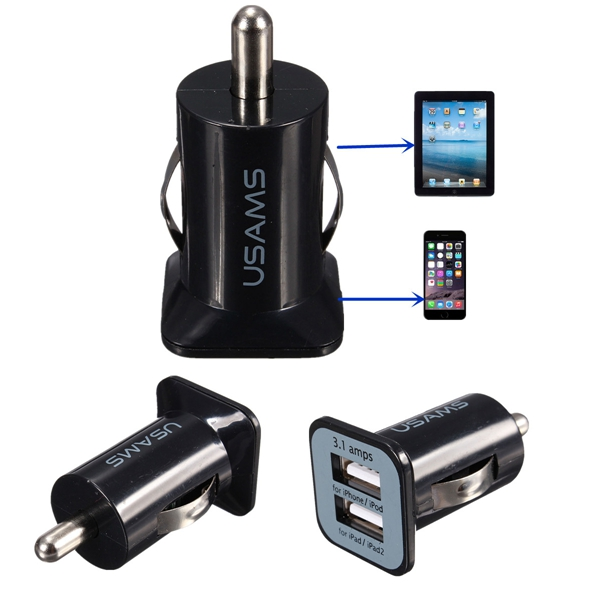 Top Quality universal Auto Car Charger Mini Dual 2 Ports USB Socket Adapter for iPhone 4 5 6 C S Plus Phones all Digital Decives