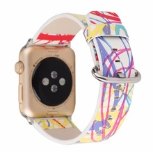 Rainbow Striped Leather Band for Apple Watch 38/42mm