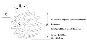 Image 5 - Waaier 09 808B 22405 0001 500121 50021 3586496 875583 7 21951342 voor Jabsco/Johnson/Volvo Penta Motor pomp, neopreen