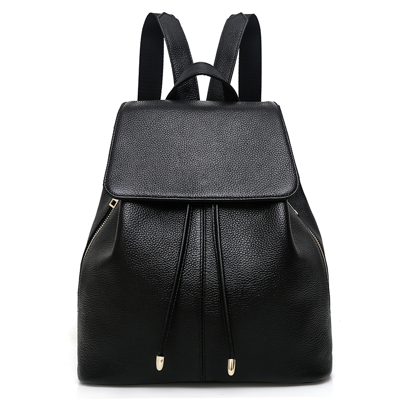 Fashion Designer Cow Genuine Leather Women Backpacks Drawstring School Bags For Teenagers Girls Female Travel BackPack Rucksack fashion women leather backpack rucksack travel school bag shoulder bags satchel girls mochila feminina school bags for teenagers