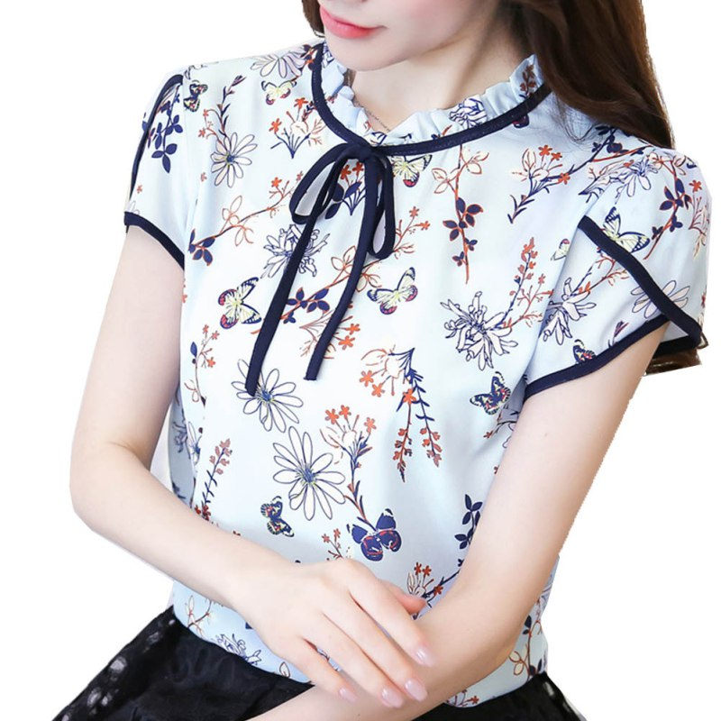 New Blusas Femininas Summer Floral Print Chiffon Blouse Ruffled Collar Bow Neck Shirt Petal Short Sleeve Chiffon Tops