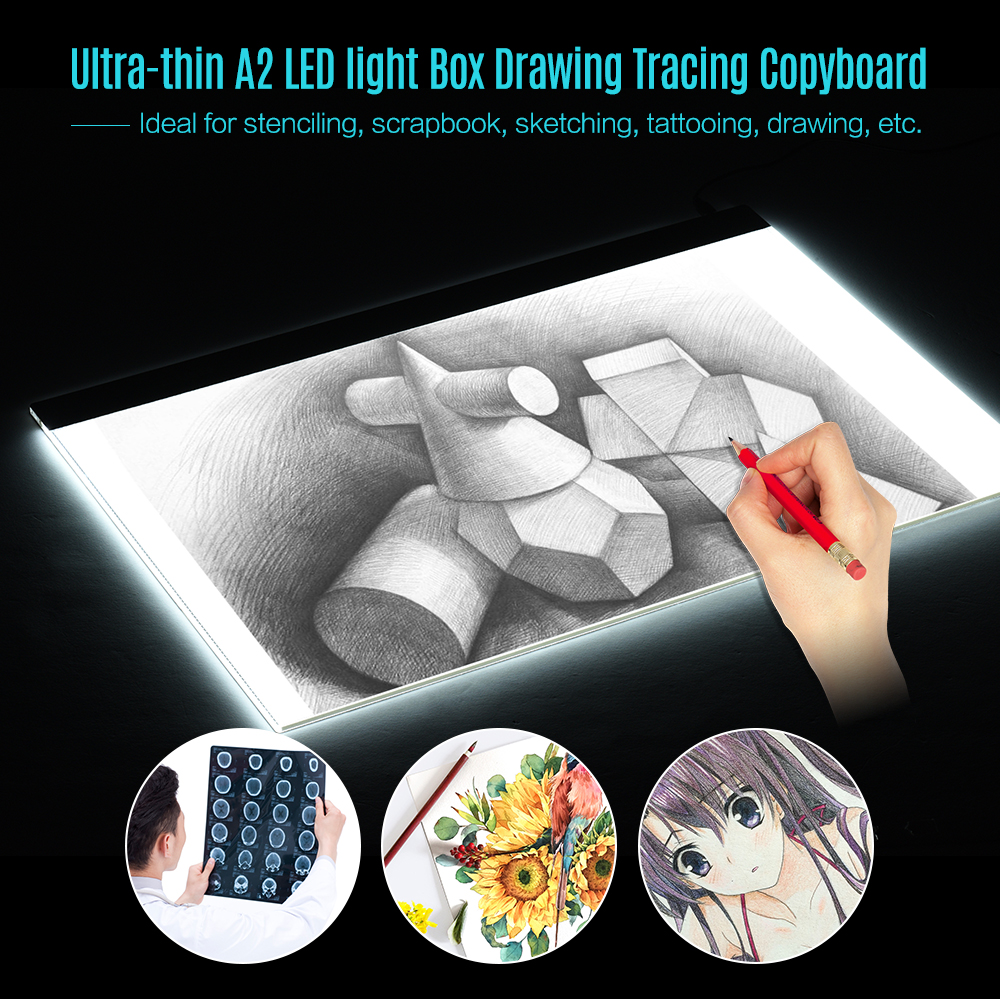 A2 Large Ultra-thin LED Light Pad Box Painting Tracing Panel Copyboard for Cartoon Tattoo Tracing Pencil Drawing X-Ray Viewing m way 35x23x0 52cm ultra thin pencil drawing table graphics tablet a4 led copy adjustable brightness tracing copyboard