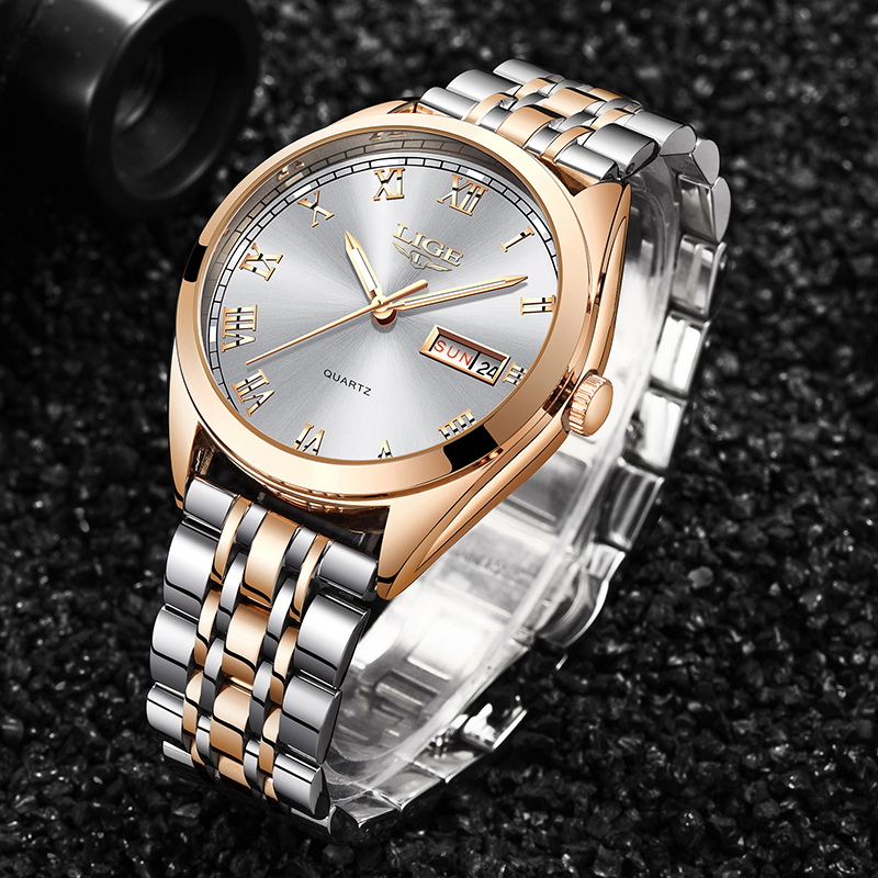 2019 LIGE New Wose Gold White Ladies Watch Casual Fashion Quartz Watch Ladies Top Brand