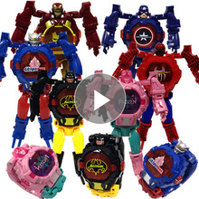 Party Favors Child Deformation Watch Light Digital Time Cartoon Toy Action Robot Avengers Iron