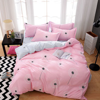 Pink Dandelion Home Textile Flowers Printed Bedding Set Bed Cover Bed Sheet Duvet Cover Pillowcase Bed Linen Bedclothes Queen