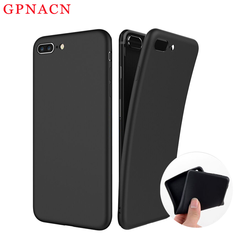 Fashionable Case Contracted Mobile phone Shell For iPhone 5 5s SE 6 6s 7 plus Phone Flex Cases Soft TPU Black Anti Fall Silicone