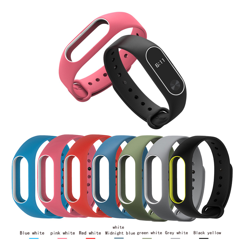 Two-color Mi Band 2 Watch Accessories Pulseira Miband 2 Strap Replacement Silicone Wristband For Xiaomi Mi2 Smart Watch  Strap