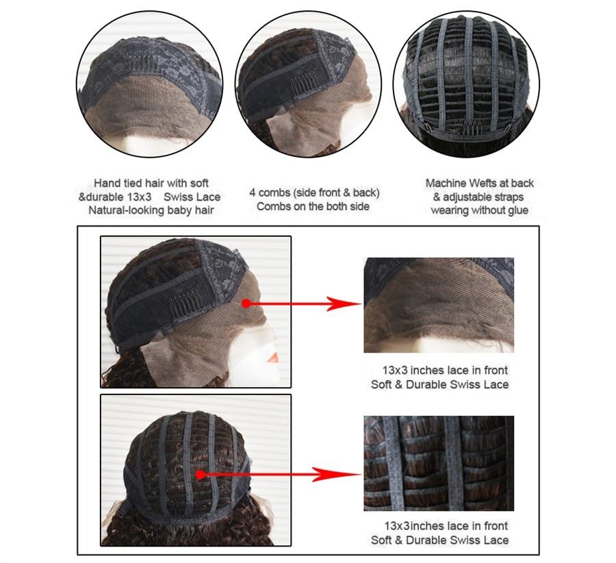 Mode dame brésilienne Remy cheveux 14 pouces 100% cheveux humains perruques 150% densité vague de corps dentelle avant perruque pour les femmes - 6