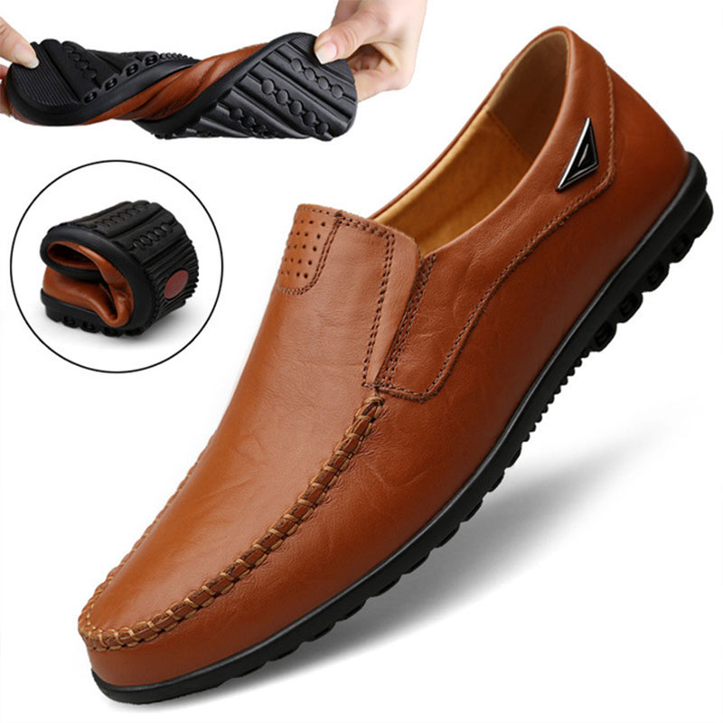 Italian Men Casual Shoes Summer Genuine Leather Loafers Moccasins Slip On Breathable,Black,10
