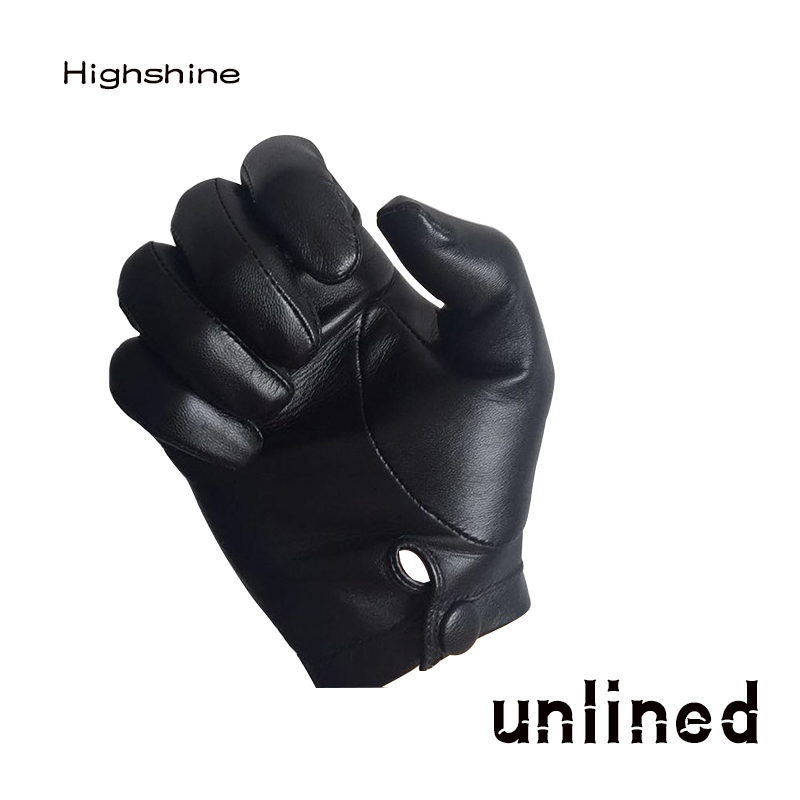 Highshine Man Wrist Button One Whole Piece Of Sheep Leather Gloves Black And Brown
