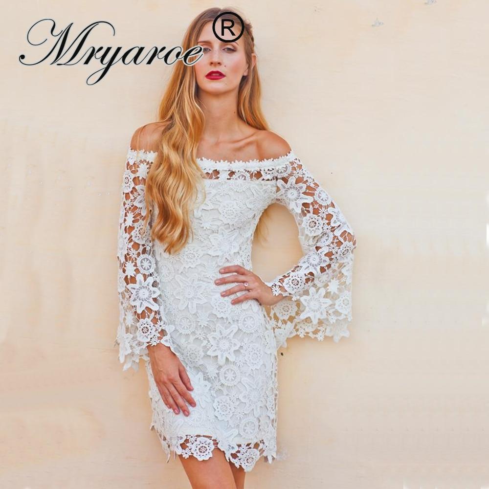 Vintage Wedding Dresses With Bell Sleeves: Mryarce Vintage 70s Short Wedding Dress Off Shoulder Lace