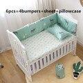 6 шт.  комплект постельного белья для малышей с изображением лося  хлопковый удобный комплект для детской кровати  berço (4 бампера + лист + навол...