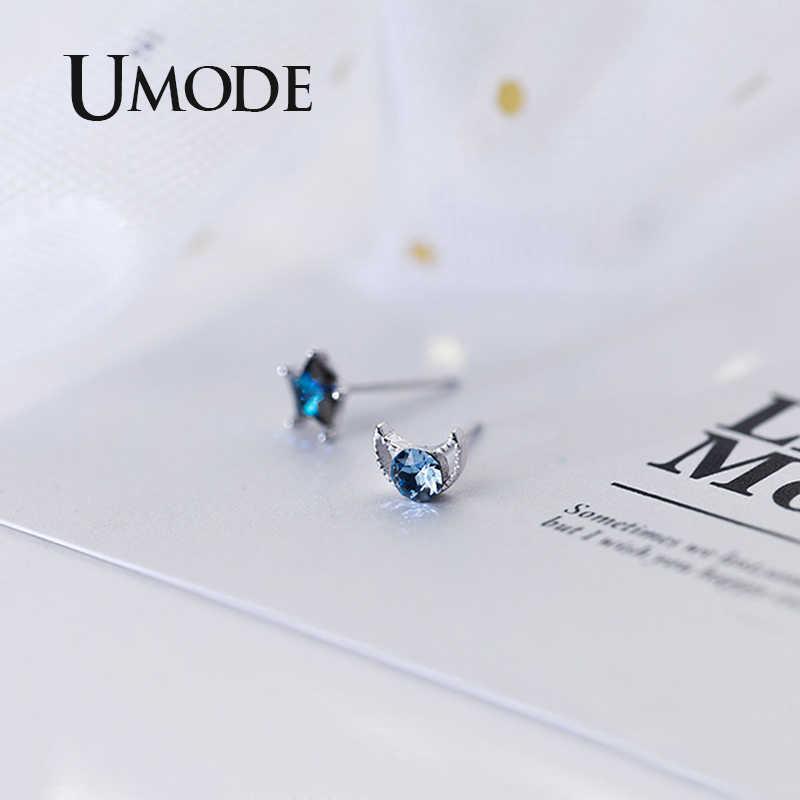 UMODE จริง 925 เงินสเตอร์ลิงสตั๊ดต่างหูผู้หญิง Moon Zirconia ต่างหู S925 Fine เครื่องประดับงานแต่งงานของขวัญ ULE0574