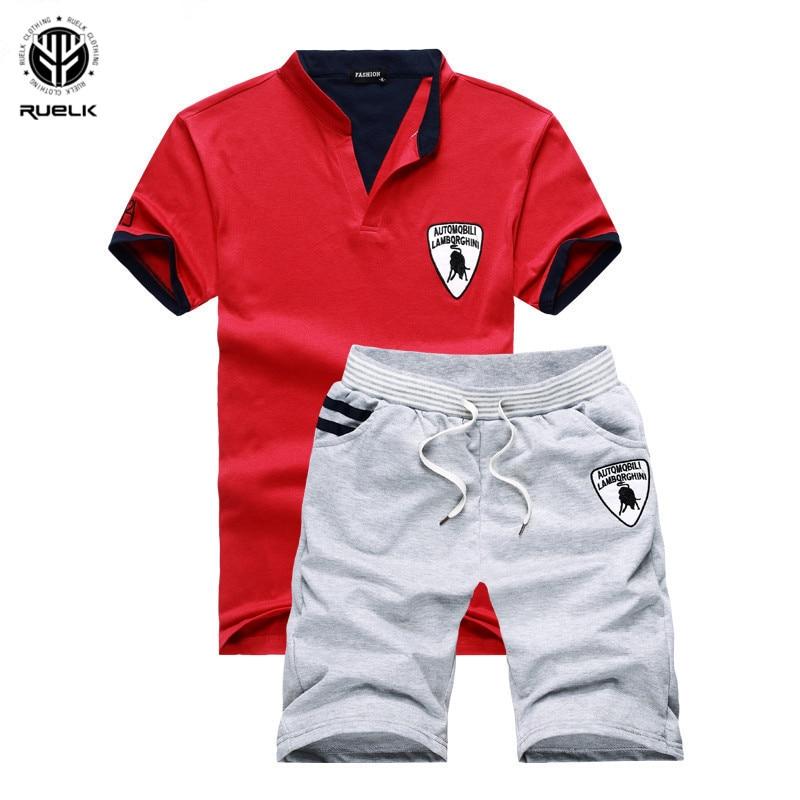 Men Summer Polo Short Sleeve T Shirt Shorts Pants Sports Casual Tracksuit Set