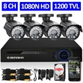 DEFEWAY 8CH 1080N HDMI DVR 1200TVL 720P HD Outdoor Security Camera System 1TB Hard Drive 8 Channel CCTV DVR Kit AHD Camera Set
