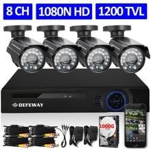 DEFEWAY 8CH 1080N HDMI DVR 1200TVL 720P HD Outdoor Security Camera System 1TB Hard Drive 8 Channel CCTV DVR Kit AHD Camera Set