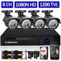 Defeway 1080n 8ch hdmi dvr 1200tvl 720 p hd cámara de seguridad exterior sistema de 1 TB de Disco Duro de 8 Canales CCTV DVR Kit Cámara AHD conjunto