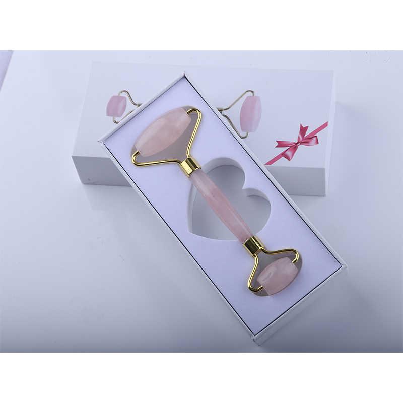 Розовый КВАРЦЕВЫЙ роликовый для похудения Массажер для лица лифтинг инструмент натуральный нефритовый роллер для массажа лица камень массаж кожи красота уход набор коробка