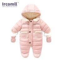 Ircomll Winter Infant Baby Girl Boy Romper Autumn Jumpsuit Hooded Inside Fleece Toddle Winter Autumn Overalls Children Outerwear