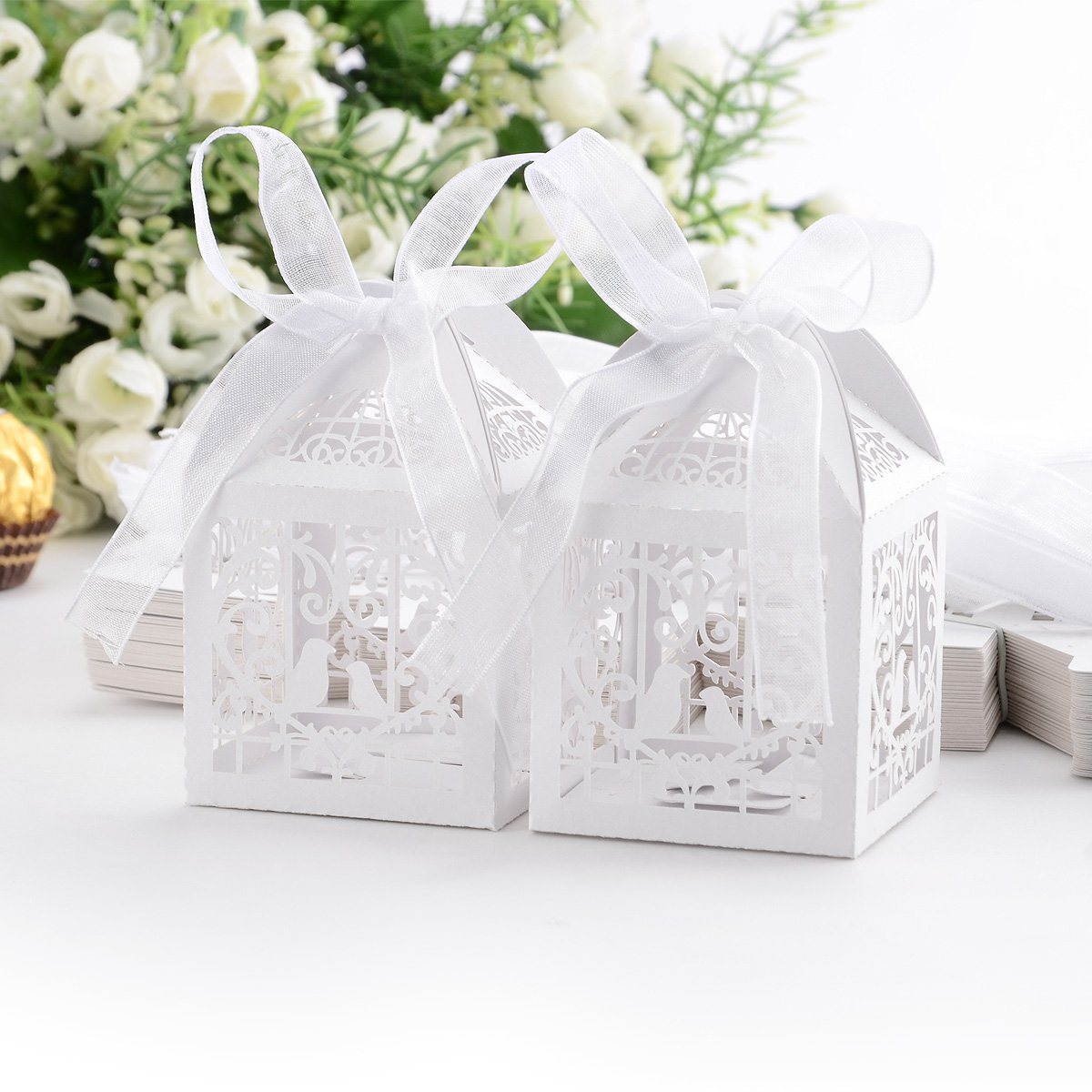 SZS Hot 50x Dragees Box Candy Heart White Bird Cage for Wedding Baptism