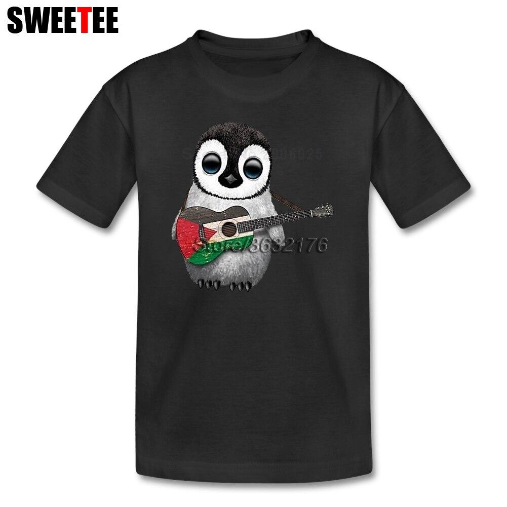 Детские Пингвин играет палестинский флаг Гитары рубашка сыну из 100% хлопка для мальчиков и девочек короткий рукав Футболка для малышей От 4 д... ...