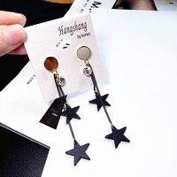 Double Star Female Fashion Wood Earrings Earrings Earrings Korean Temperament Simple Exaggerated Long Ear Line In