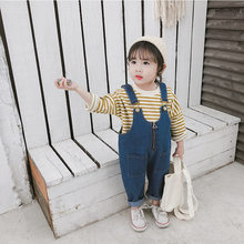 0fe8dcefb0 Korean style Spring 2019 all-match solid color denim overalls for cute  girls kids loose casual suspender trousers 0-4Y