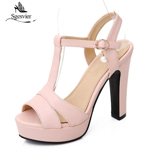 0576f2817cb9 Sgesvier Design Ladies Platform Sandals Classy T-Strap Women s High Heels  Peep Toe Female s Party Wedding Shoes Size 34-43 B453