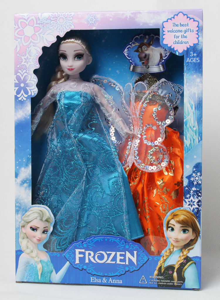 Frozen Princess Elsa Anna doll garment accessories 6 joint eyelashes Model Toys Juguetes