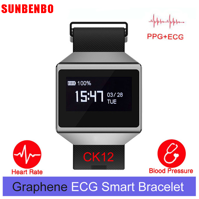 CK12 Graphene ECG Heart Rate Blood Pressure Monitoring Smart Bracelet Sports Steps Calculation Call Reminder Bluetooth Watch a09 ble4 0 heart rate blood pressure monitoring smart bracelet blue