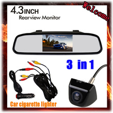 four.three inch LCD Mirror Monitor & automotive reverse digicam & can management cigarette lighter for parking sensor three in 1, Free Delivery