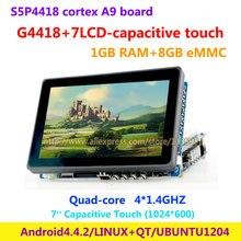 Cortex A9 Quad core S5PV4418  G4418 + 7inch  , 1G RAM + 8G eMMC , HDMI Android 4.4 Ubuntu1204