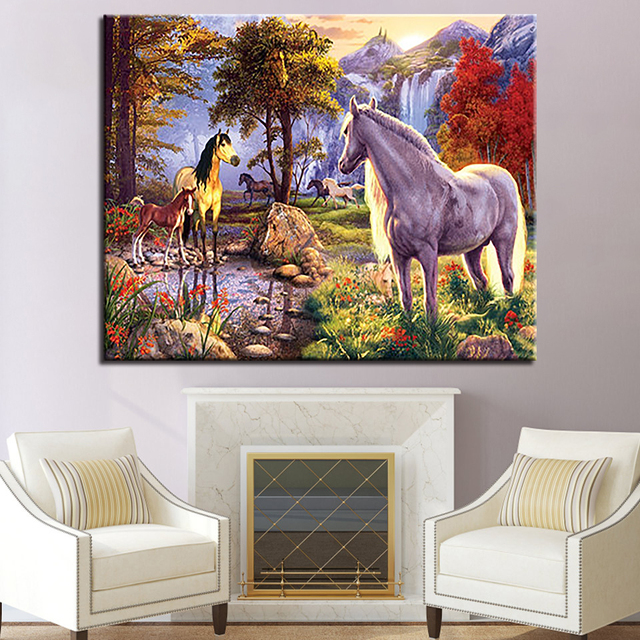 Hewan Unicorn Diy Lukisan Dengan Angka Dinding Seni Kit Menggambar