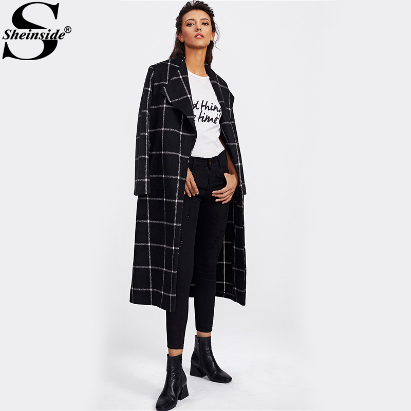 Sheinside Drape Collar Grid Plaid Longline Coat Ladies Turn down Collar Long Sleeve Casual Outer Women