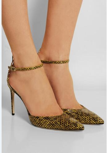 ФОТО Mixed color snake skin pointed toe high thin heel buckle strap back cut-out elegant Office style pumps for woman in Spring