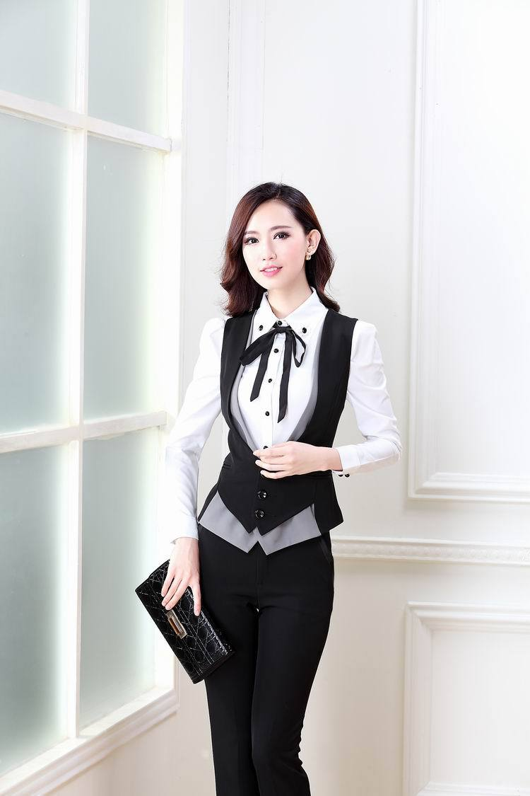 2a68840985 Spring Autumn Novelty Grey Office Work Wear Women s Suits With Pants ...