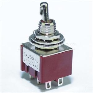 100 pces MTS-203-C1 em fora no interruptor de alavanca 6mm 3a 250vac 6a 125vac 6pin dpdt guitarra peças interruptor de alternância cor vermelha