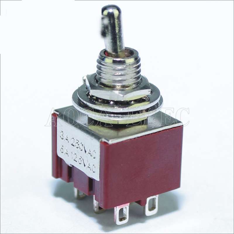 100PCS MTS-203-C1 on off on Toggle Switch 6MM 3A 250VAC 6A 125VAC 6Pin DPDT Guitar Parts Red Color Toggle Switch image