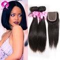 Peruvian Bob virgin Hair Straight 3 Bundles And Closure Straight Silky Weave Peruvian Julia Virgin Hair Straight With Closure
