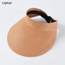 USPOP 2019 New Summer hat female straw sun adjustable wide brim beach foldable visor caps without top