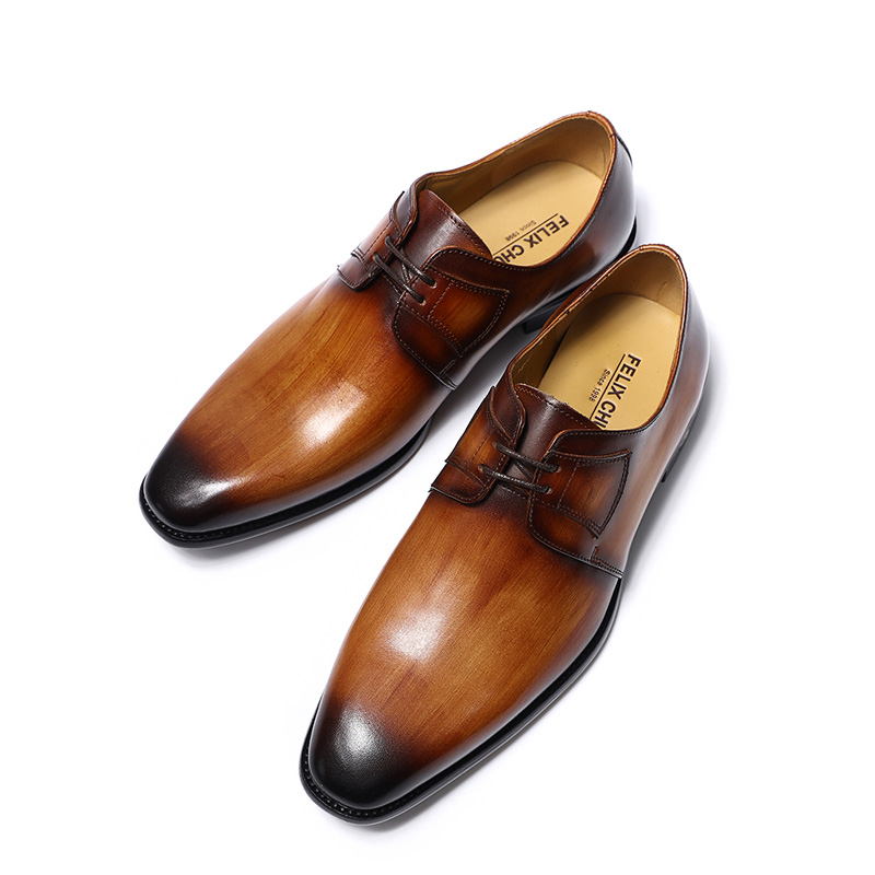 FELIX CHU Luxury Genuine Leather Mens Brown Green Derby Shoes Office  Company Party Formal Male Lace Up Dress Wedding Footwear-in Formal Shoes  from Shoes on ... 882c92625d79
