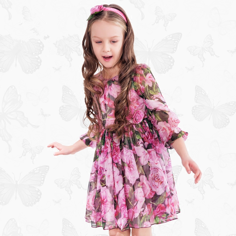 W.L.Monsoon Brand Children's wear New Girl Chiffon dress Floral dress child Princess dress Long sleeve plaid long sleeve belted midi dress